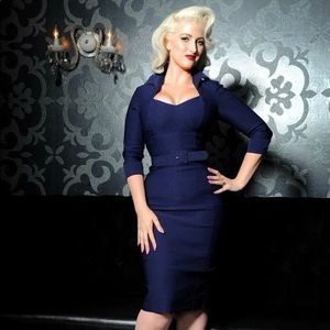 Pinup Couture Lorelei Wiggle Dress in Navy